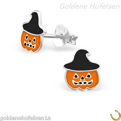 Kürbis Ohrstecker 925 Echt Silber Halloween Ohrringe Kinder Geschenkidee Z-93