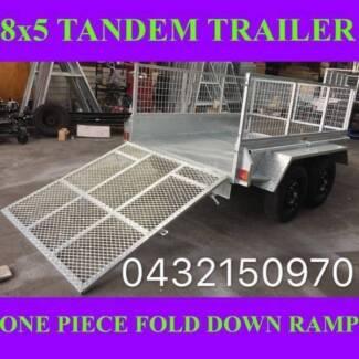 8x5 TRAILER TANDEM HEAVY DUTY TRAILER CAGE RAMP GALVANISED 2