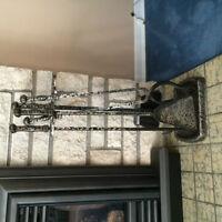 Vintage Swedish wrought iron fireplace set