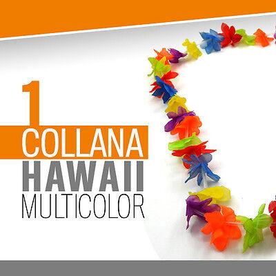 1* COLLANA HAWAII MULTICOLOR feste spiaggia estate party hawaiana fluo dj 30342