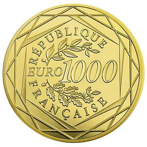 1000 Euro Gold Frankreich Gallischer Hahn 2016 Stempelglanz im Etui