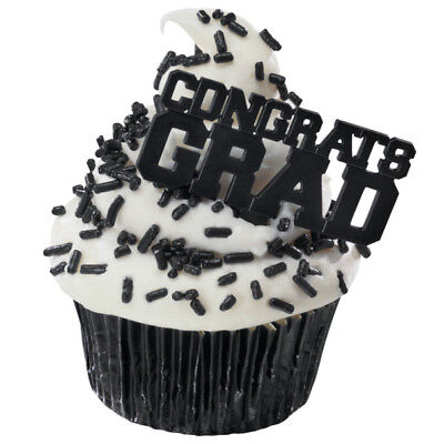 12 Congrats Grad Black Graduation Picks Cupcake Toppers Decorations Party Favor](Graduation Cupcake Decorations)