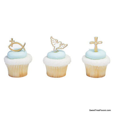 Cross Communion CupCake Cake Topper 12 18 24 Decoration Spiritual Religious Firs