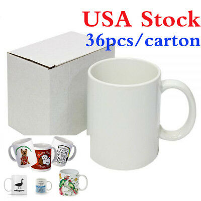 Usa 36pcs Blank White Mugs Aa Grade 11oz Sublimation Printing Orca Coating Mugs