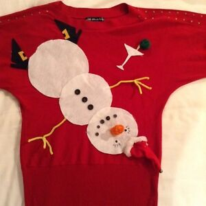 Tipsy snow lady ugly Christmas sweater