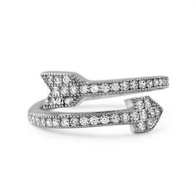 Celebrity Inspired Cubic Zirconia Sterling Silver Arrow Ring for Women