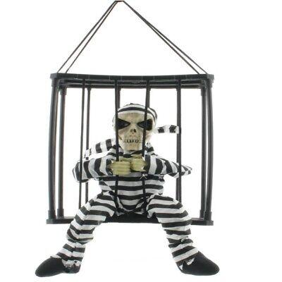 SENSENMANN TOD im Käfig mit Sound & Bewegung - Deko Figur Halloween animiert