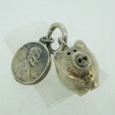 (Sterling Silver Piggy Bank with Penny Pendant Charm)