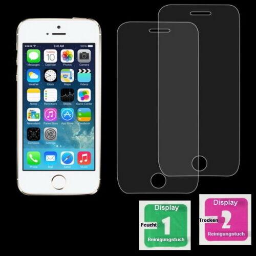 2x iPhone 5 / 5S / 5C / SE Schutzfolie Schutzglas 9H Echt Glas Panzer Glasfolie