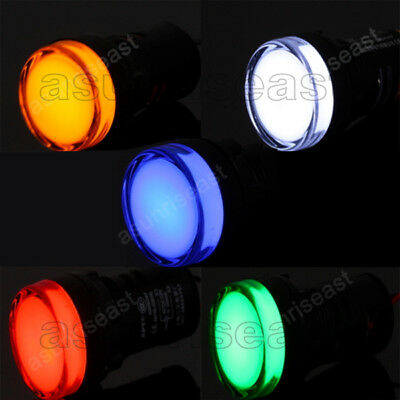 Led Indicator Pilot Light Signal Lamp Panel Red Green Blue Yellow White 22mm