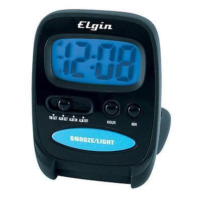 Elgin Small Digital Travel Alarm Clock 0.7 Black SimpleTo Use Free US Shipping