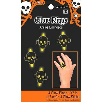 Halloween Plastic Skull Glow Ring 4 Rings Party Favor
