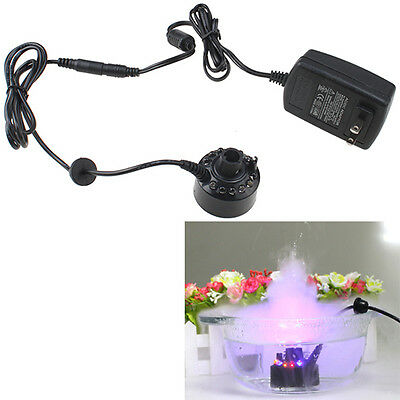 12LED Mist Maker Fogger Atomizer Air Humidifier Water Fountain Pond Fog Machine