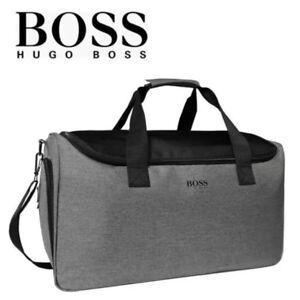 HUGO BOSS Mens Grey Bag Gym Holdall Work Weekend Holiday Hand Cabin Man Bag NEW