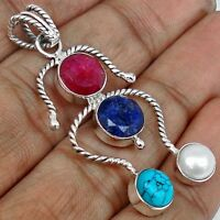 PENDANT OPAQUE RUBY & SAPPHIRE, TURQUOISE & PEARL. 925 SILVER