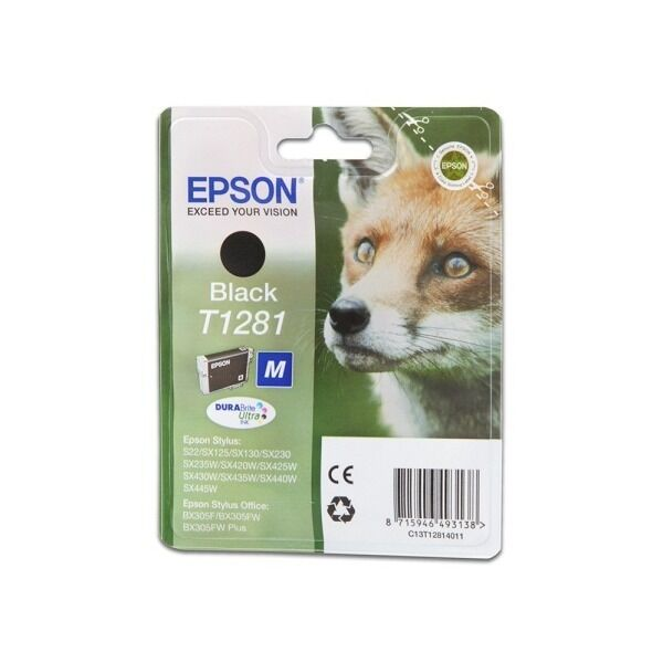 Epson Original Durabrite Fox T1281 Ink Cartridge  Black Fox 1281 (C13T12814011)