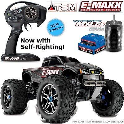 Traxxas 39086-4 1/10 E-Maxx Brushless Monster Truck TSM w/Self Righting RTR Blck