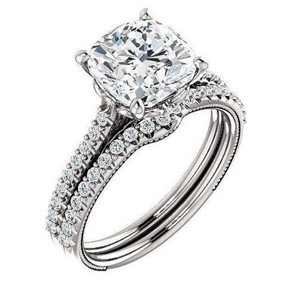 2.30 ct. Cushion Cut Diamond Engagement U-Pave W Matching Band GIA D, VS1