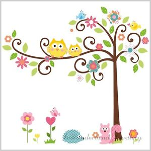 Owl-Scroll-Tree-Wall-Art-Decal-Removable-Vinyl-Nursery-Stickers-Kids-Baby-Decor