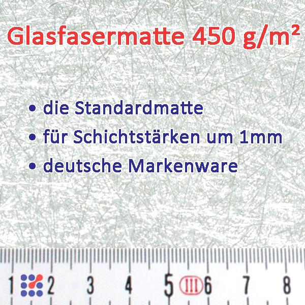 GLASMATTE, GLASVLIES, GLASFASERMATTE F. POLYESTERHARZ  EPOXIDHARZ POLYESTERVLIES Glasmatte 450 g/m²