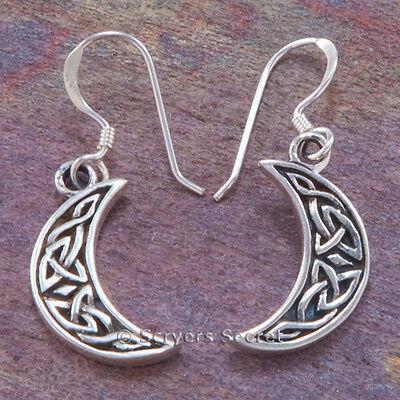CRESCENT MOON Earrings Hook Dangle Sterling Silver CELTIC KNOT WORK 925 Celtic Knotwork Silver Earrings