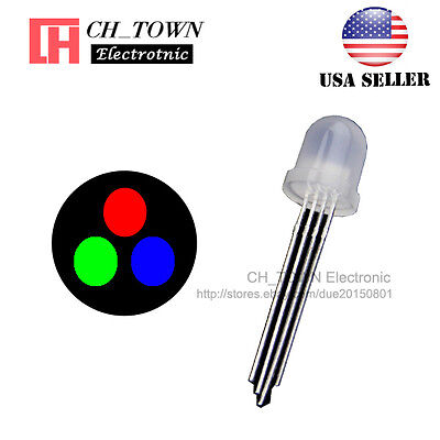 50pcs 8mm Diffused 4pin Rgb Tri-color Red Green Blue Common Anode Led Diodes Usa