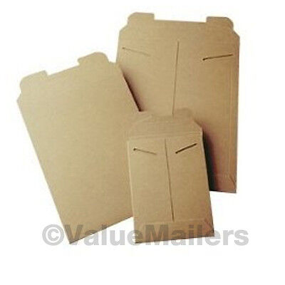 100 - 9 X 11.5 Kraft Rigid Photo Mailers Tab Locking Stay Flats 9x11.5 Stayflats