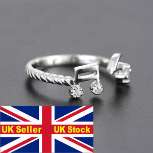 Music note treble cleff statement ring indie kitsch gem gold silver gift bag UK