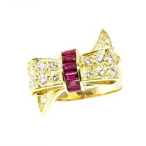 18KT Yellow Gold Tiffany & CO Ring with Diamonds and Rubies