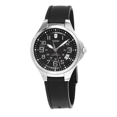 SWISS ARMY VICTORINOX BLACK DIAL DATE POLYURETHANE STRAP MEN'S WATCH 241462 NEW