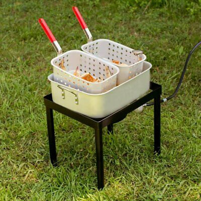 18 Qt. Liquid Propane Outdoor Dual Basket Chicken Fish Deep Fryer Cooking Kit