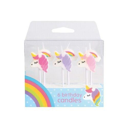 Unicorn & Rainbow CANDLES 6 Piece Girls themed Birthday Party Cake Decoration