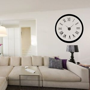 sticker mural horloge g ante cadran chiffres romains 2 avec m canisme aiguilles ebay. Black Bedroom Furniture Sets. Home Design Ideas