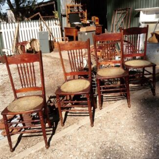 Four Antique Chairs Pressed Metal Seats Imitation Cane Truro Mid Murray Preview