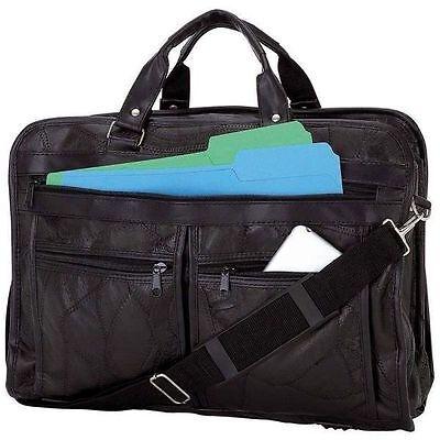 Black Leather Business Briefcase Laptop & Messenger Bag School Work Travel BCLBC
