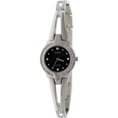 New Seiko Women's Tressia Solar Black Dial Crystal Bangle Watch SUP051