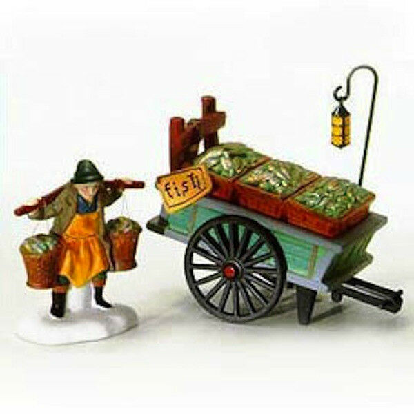 CHELSEA MARKET FISH MONGER & CART # 58149 RETIRED DICKENS VILLAGE ACCESSORY