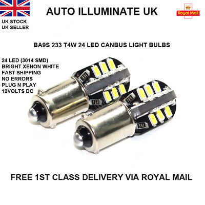 2 X BA9S CAR BULBS 24 LED ERROR FREE CANBUS SMD XENON WHITE 233 T4W SIDE LIGHT