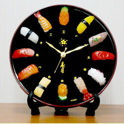 Sushi wall clock handmade realistic sample design black for gift made in Japan