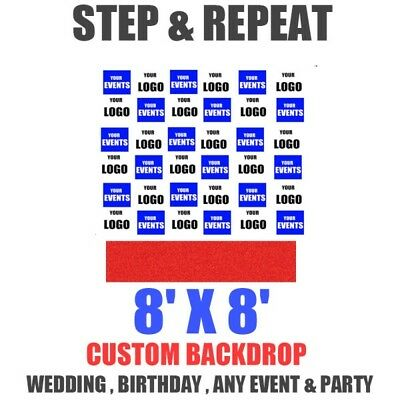 8x8 Ft CUSTOM Step Repeat Backdrop Banner Printing Full Color FABRIC (NO STAND) ()