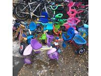 Job lot of 2 wheeled bikes and trikes X 50