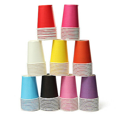 10~50pcs Paper Cups Plain Solid Colors Tableware Wedding Birthday Party Decor - Colored Paper Cups