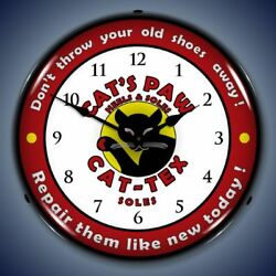 CAT'S PAW CAT-TEX SOLES LED LIGHTED WALL CLOCK RETRO VINTAGE NOSTALGIC MAN CAVE