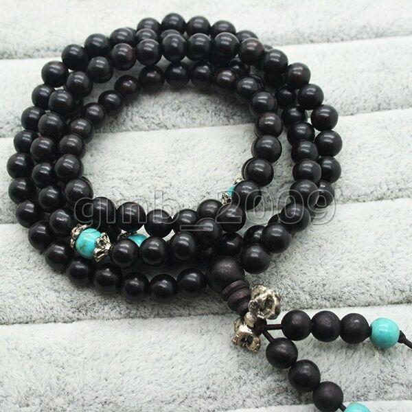 Buddhist 8mm Black Sandalwood Turquoise 108 Prayer Beads Mala Bracelet Necklace