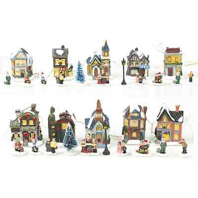 New LED Festive Light Up Village 15 Piece Christmas Scene 2 Designs Battery