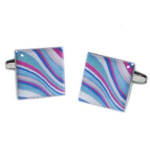 Blue-Multicoloured-Swirly-Pattern-Cufflinks-Formal-Cruise-Present-Gift-Box