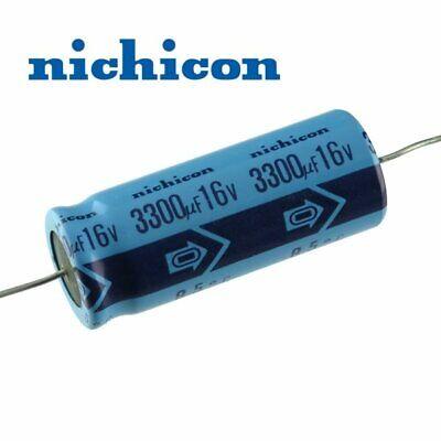 Pkg 5 Nichicon 3300uf 16v Axial Electrolytic Capacitor