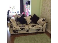 Stunning brown and cream sofa and two armchairs suite in excellent condition