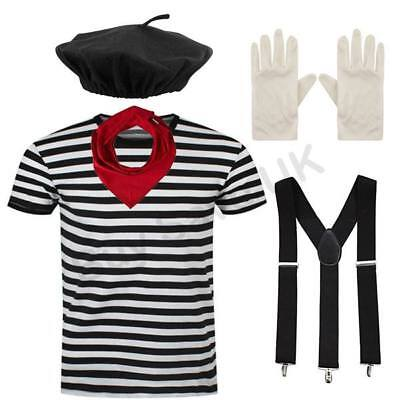 MENS ADULTS COMPLETE FRENCH MIME ARTIST FANCY DRESS COSTUME HALLOWEEN - French Mime Halloween