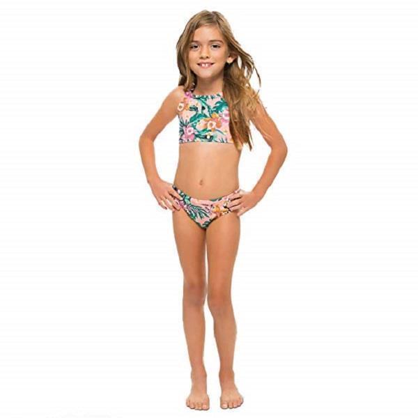 d304de3ce7 Vanilla Beach Girls' Scallop Trim 2-Piece Bikini - Pink Floral, Size S